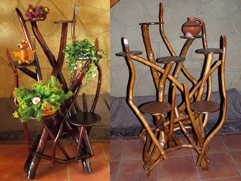 Деревянные подставки для цветов фото